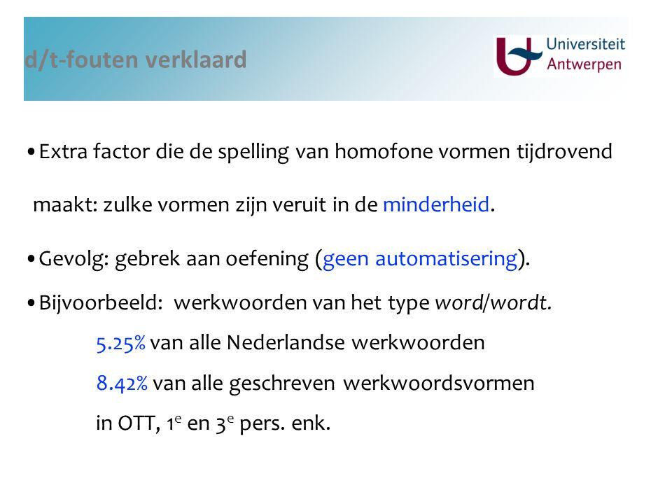 d/t-fouten verklaard Extra factor die de spelling van homofone vormen tijdrovend maakt: zulke vormen zijn veruit in de minderheid.