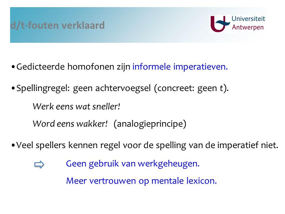 d/t-fouten verklaard Gedicteerde homofonen zijn informele imperatieven. Spellingregel: geen achtervoegsel (concreet: geen t).