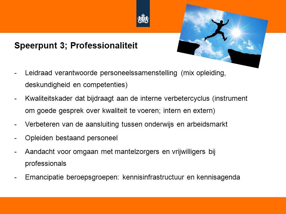Speerpunt 3; Professionaliteit