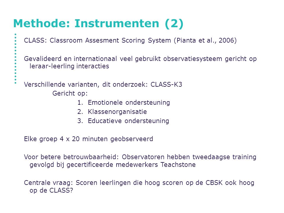 Methode: Instrumenten (2)