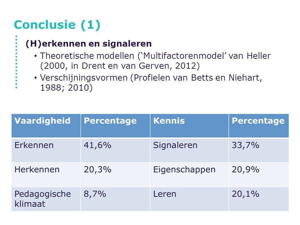 Conclusie (1) (H)erkennen en signaleren