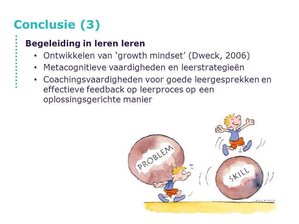 Conclusie (3) Begeleiding in leren leren