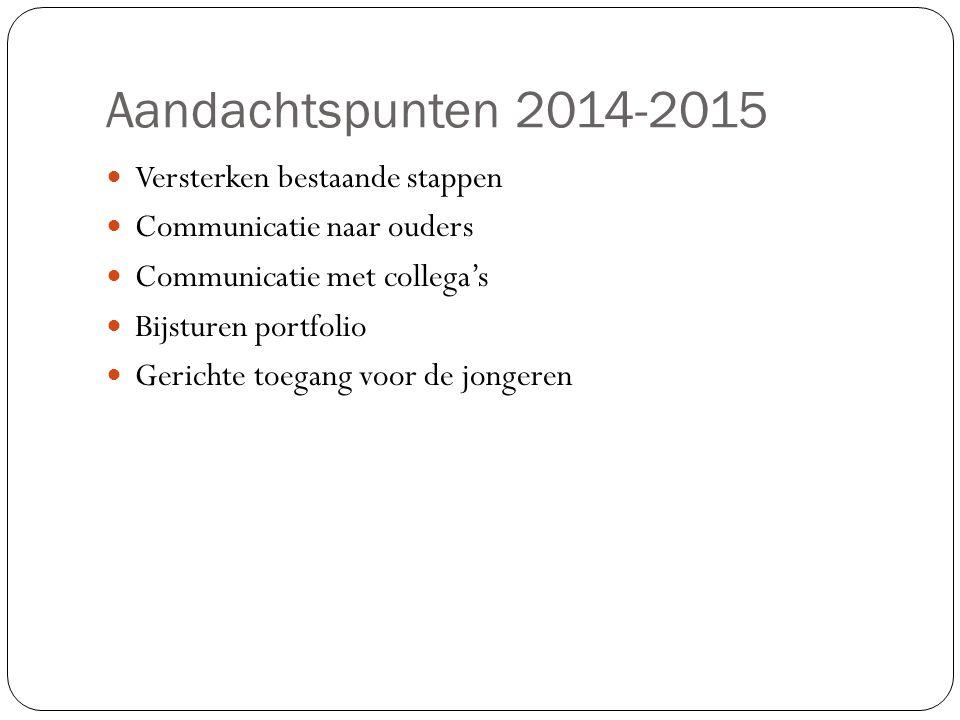 Aandachtspunten 2014-2015 Versterken bestaande stappen