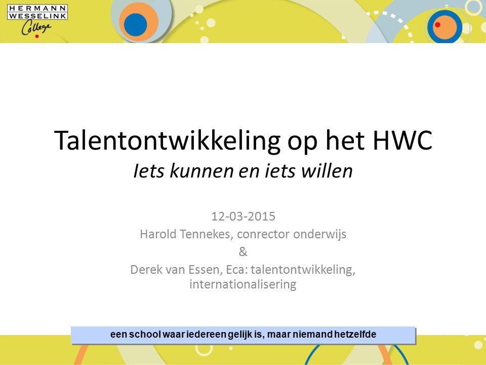 Talentontwikkeling op het HWC Iets kunnen en iets willen