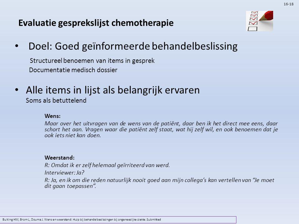 Evaluatie gesprekslijst chemotherapie