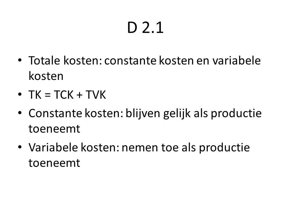 D 2.1 Totale kosten: constante kosten en variabele kosten