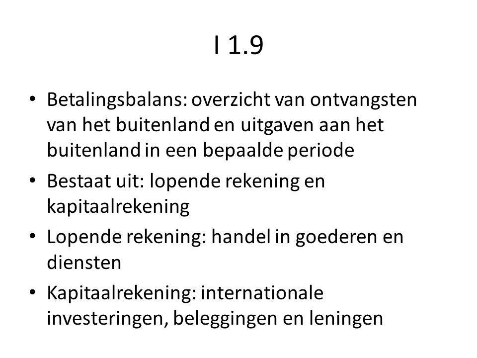 I 1.9 Betalingsbalans: overzicht van ontvangsten van het buitenland en uitgaven aan het buitenland in een bepaalde periode.