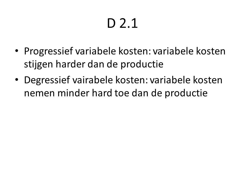 D 2.1 Progressief variabele kosten: variabele kosten stijgen harder dan de productie.