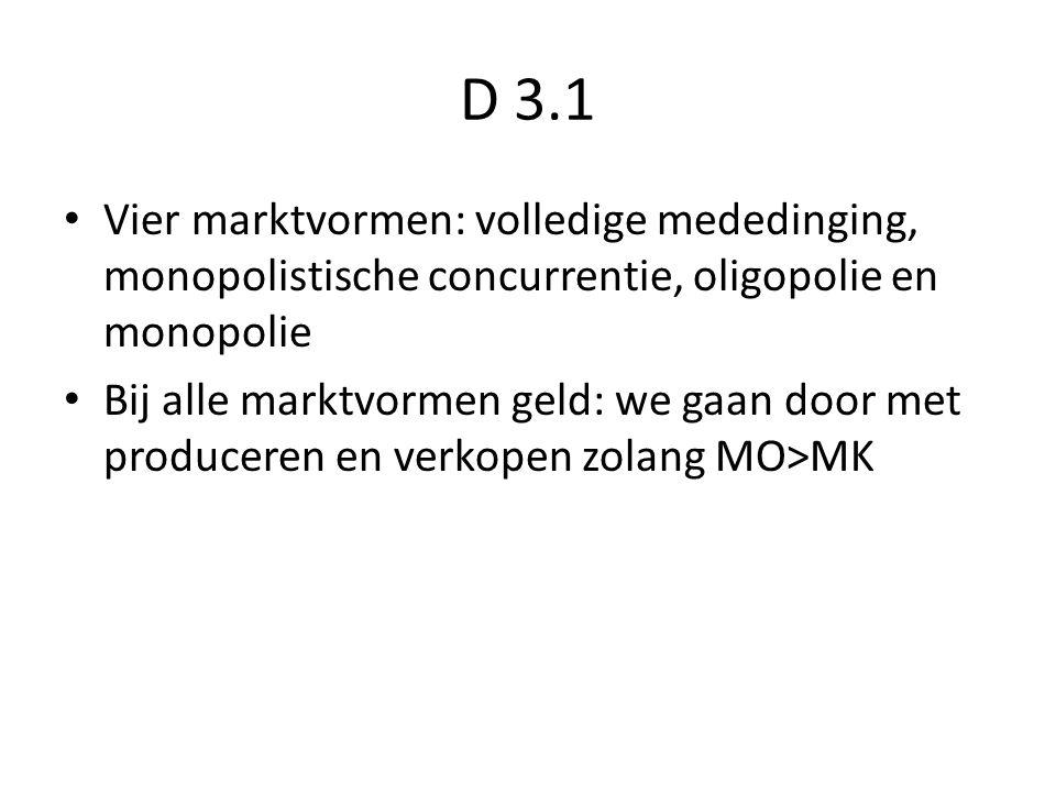 D 3.1 Vier marktvormen: volledige mededinging, monopolistische concurrentie, oligopolie en monopolie.