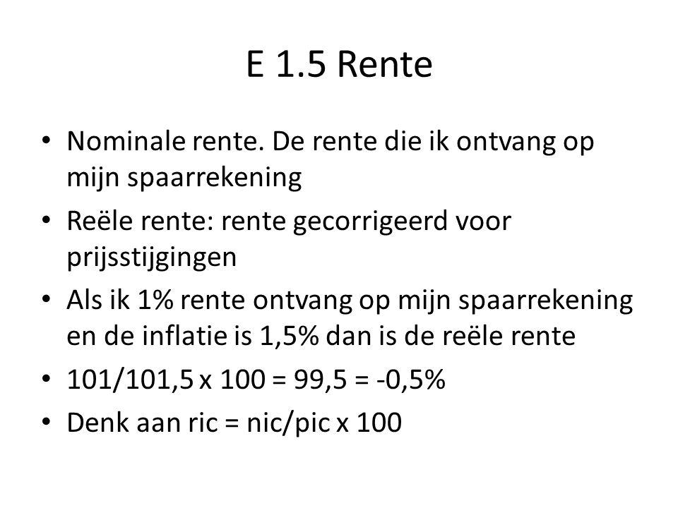 E 1.5 Rente Nominale rente. De rente die ik ontvang op mijn spaarrekening. Reële rente: rente gecorrigeerd voor prijsstijgingen.
