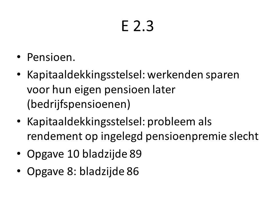 E 2.3 Pensioen. Kapitaaldekkingsstelsel: werkenden sparen voor hun eigen pensioen later (bedrijfspensioenen)