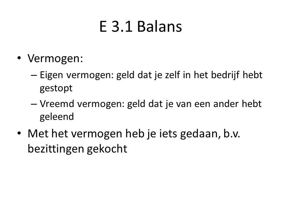 E 3.1 Balans Vermogen: Eigen vermogen: geld dat je zelf in het bedrijf hebt gestopt. Vreemd vermogen: geld dat je van een ander hebt geleend.