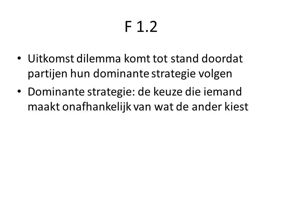F 1.2 Uitkomst dilemma komt tot stand doordat partijen hun dominante strategie volgen.