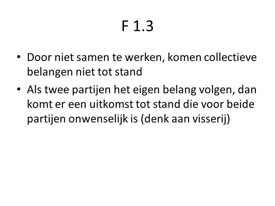 F 1.3 Door niet samen te werken, komen collectieve belangen niet tot stand.