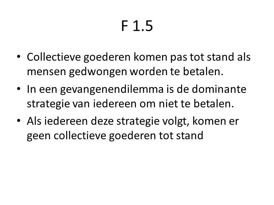 F 1.5 Collectieve goederen komen pas tot stand als mensen gedwongen worden te betalen.