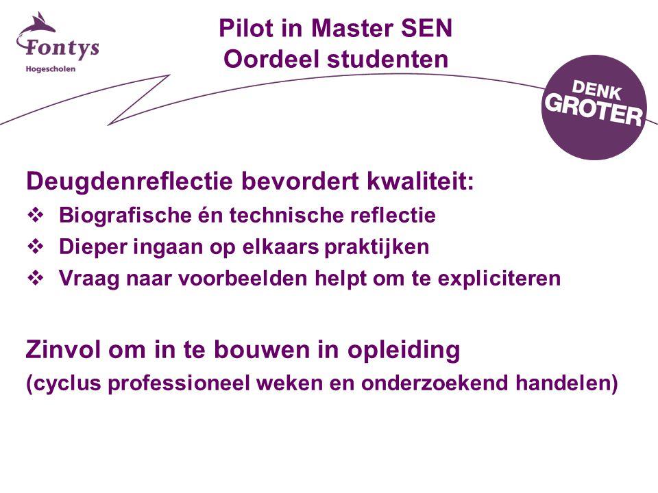 Pilot in Master SEN Oordeel studenten