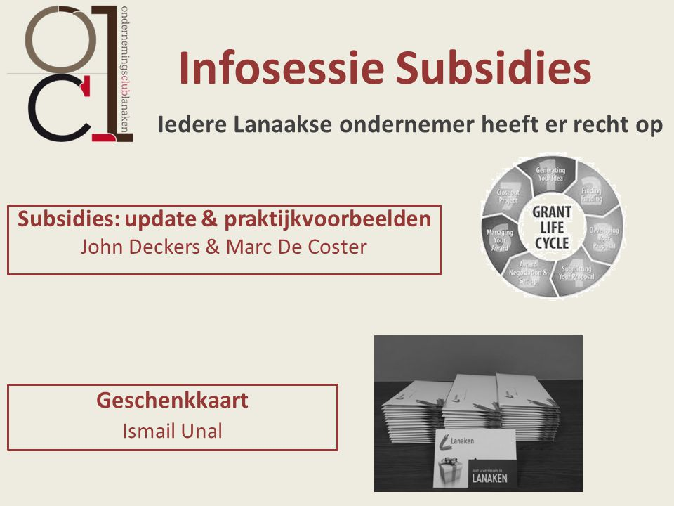 Infosessie Subsidies Iedere Lanaakse ondernemer heeft er recht op
