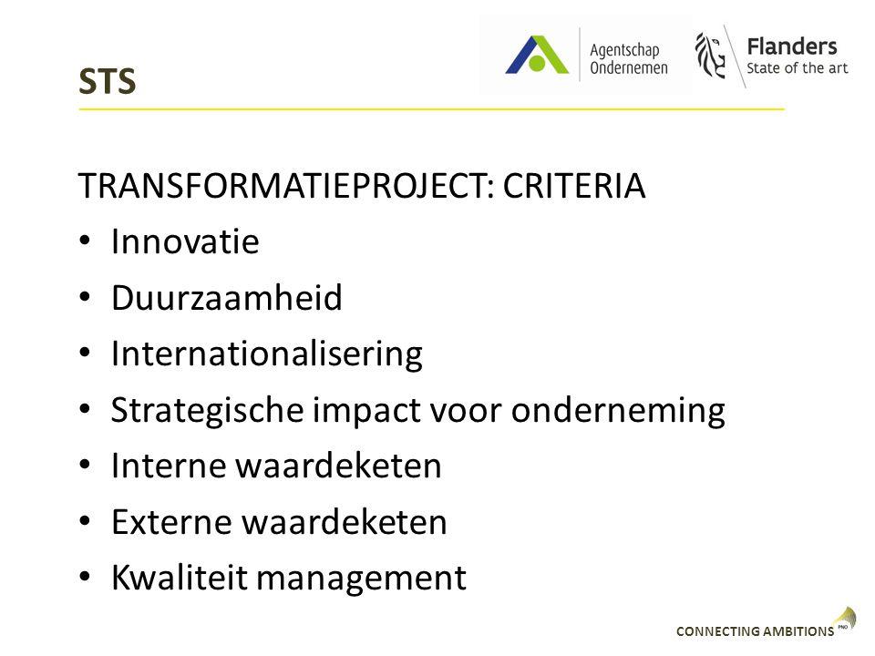 STS TRANSFORMATIEPROJECT: CRITERIA Innovatie Duurzaamheid