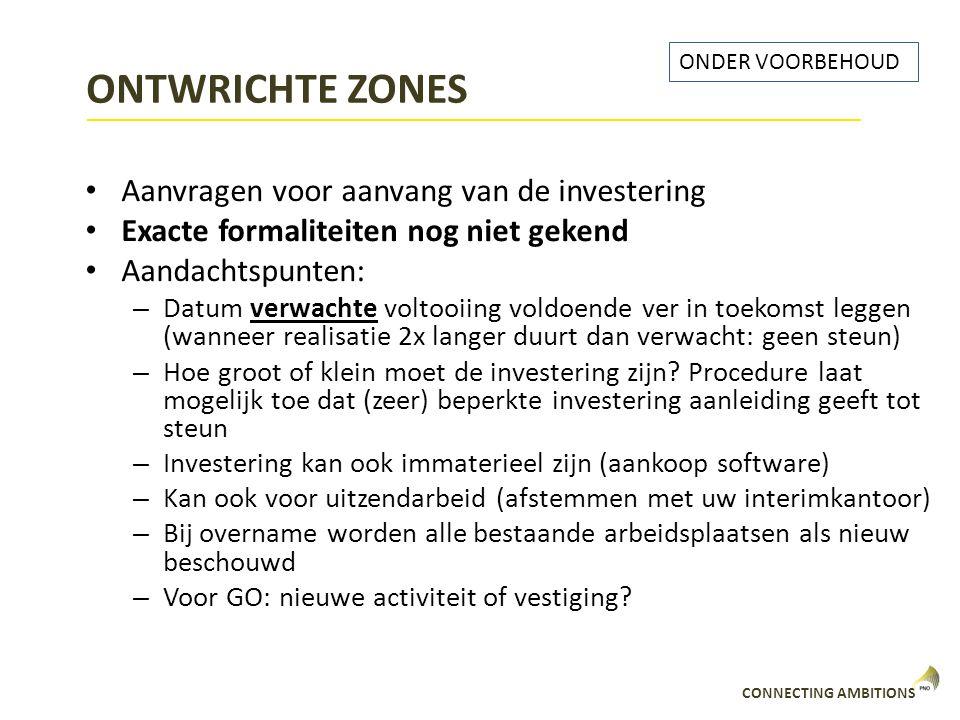 ONTWRICHTE ZONES Aanvragen voor aanvang van de investering