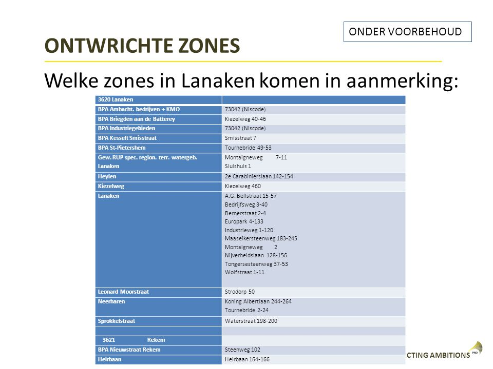 ONTWRICHTE ZONES Welke zones in Lanaken komen in aanmerking: