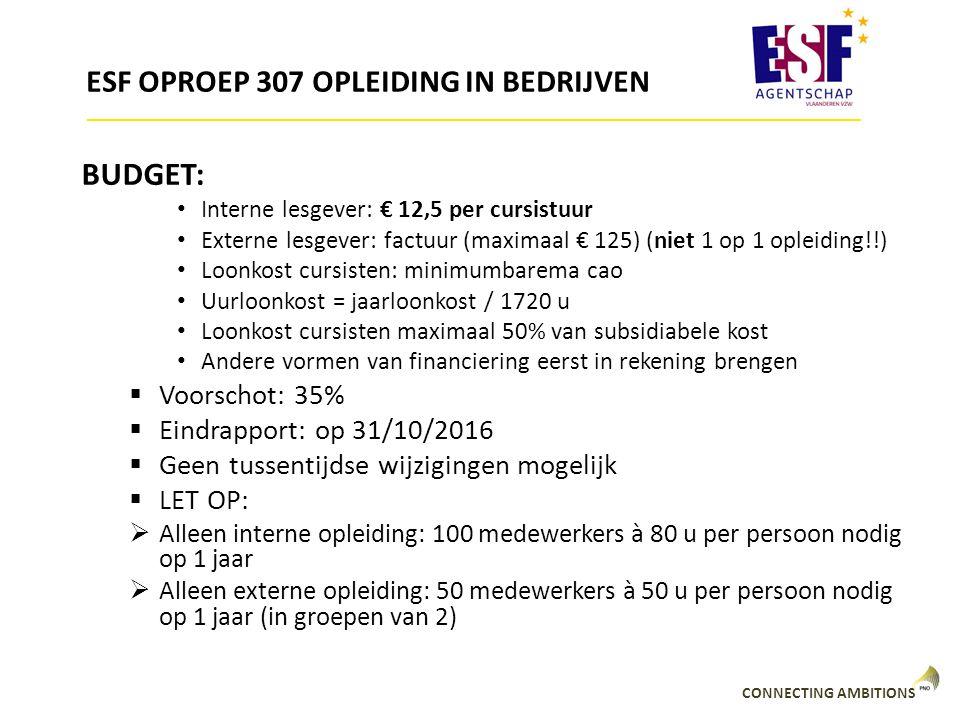 ESF OPROEP 307 OPLEIDING IN BEDRIJVEN