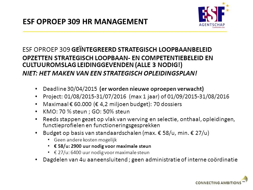ESF OPROEP 309 HR MANAGEMENT