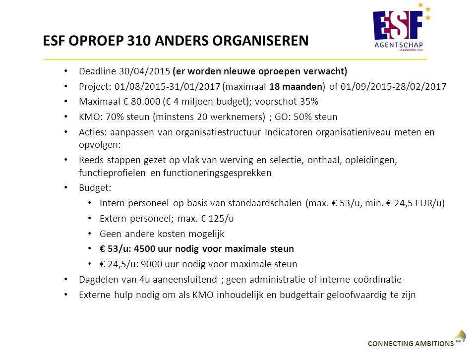 ESF OPROEP 310 ANDERS ORGANISEREN