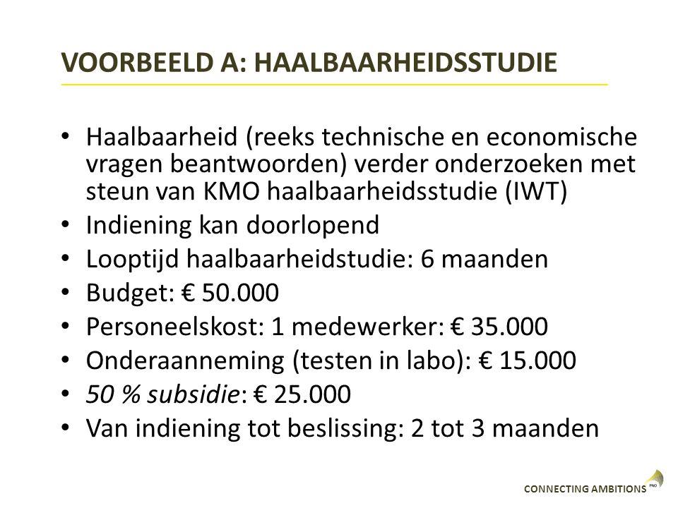 VOORBEELD A: HAALBAARHEIDSSTUDIE