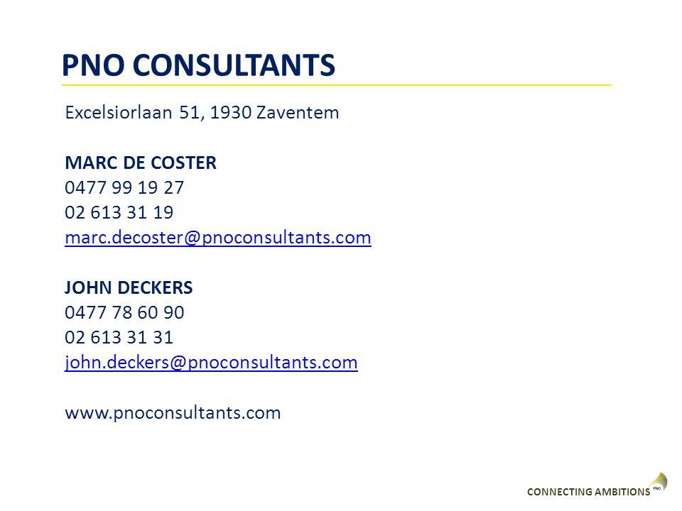PNO CONSULTANTS Excelsiorlaan 51, 1930 Zaventem MARC DE COSTER