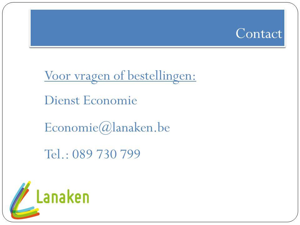 Contact Voor vragen of bestellingen: Dienst Economie