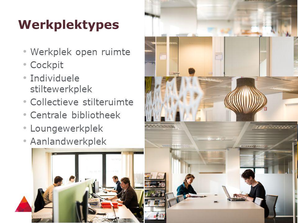 Werkplektypes Werkplek open ruimte Cockpit Individuele stiltewerkplek