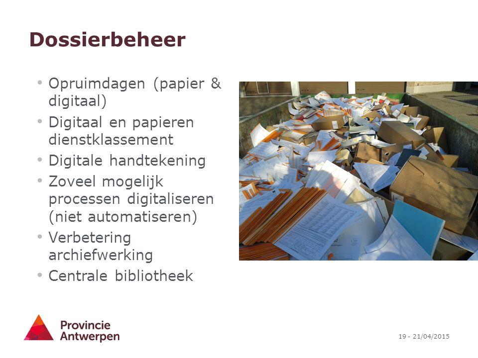 Dossierbeheer Opruimdagen (papier & digitaal)