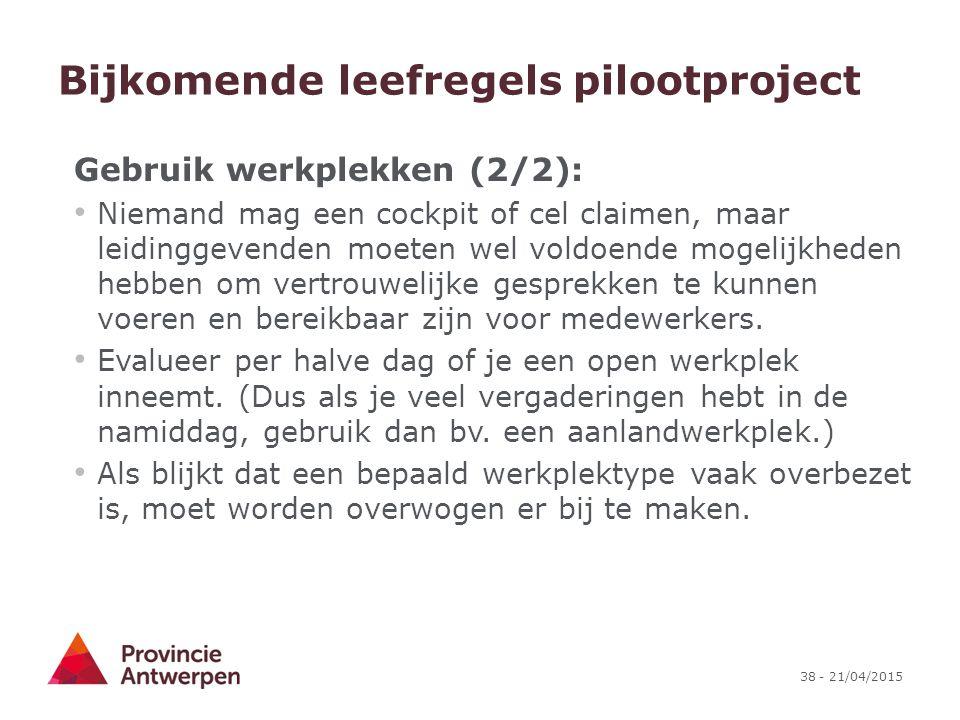 Bijkomende leefregels pilootproject