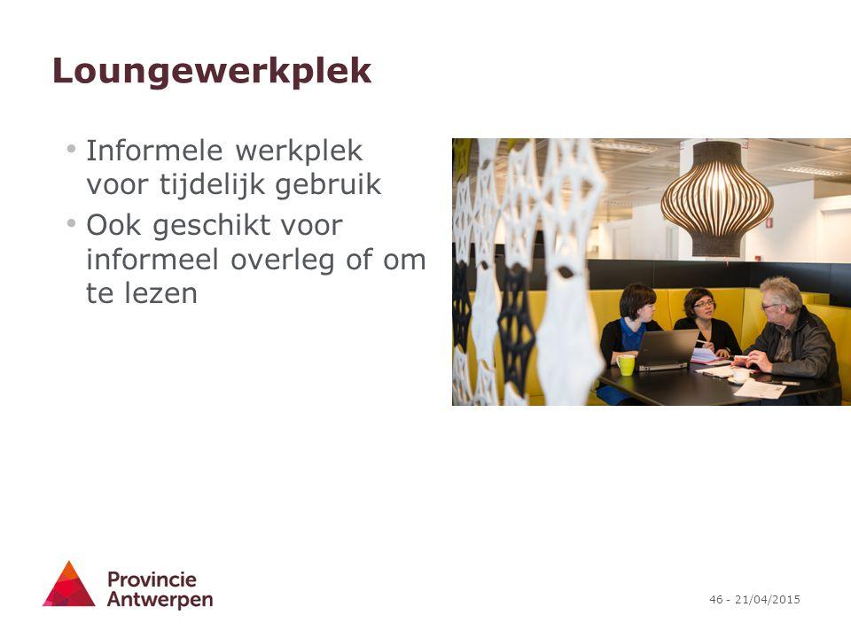 Loungewerkplek Informele werkplek voor tijdelijk gebruik