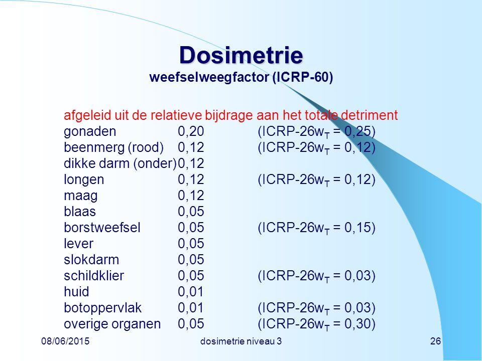 Dosimetrie weefselweegfactor (ICRP-60)