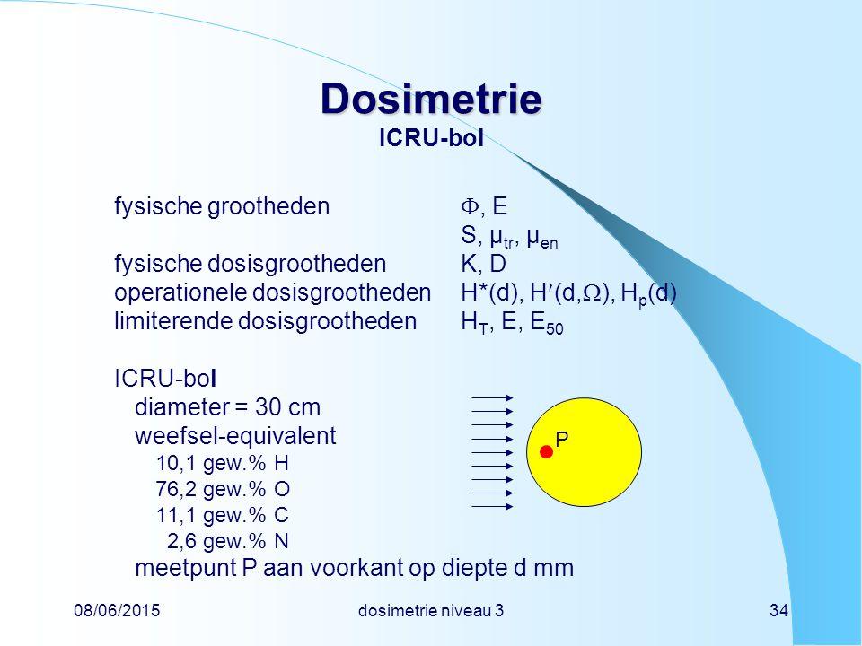 Dosimetrie ICRU-bol fysische grootheden , E S, µtr, µen