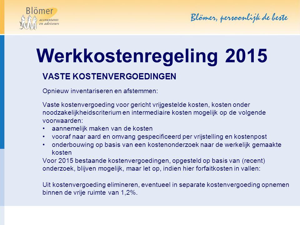 Werkkostenregeling 2015 VASTE KOSTENVERGOEDINGEN