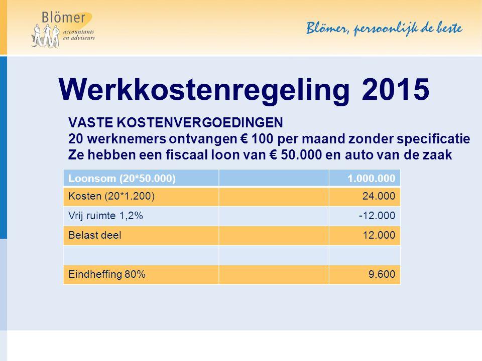 Werkkostenregeling 2015 VASTE KOSTENVERGOEDINGEN 20 werknemers ontvangen € 100 per maand zonder specificatie.