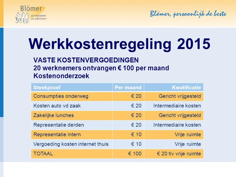 Werkkostenregeling 2015 VASTE KOSTENVERGOEDINGEN 20 werknemers ontvangen € 100 per maand. Kostenonderzoek.