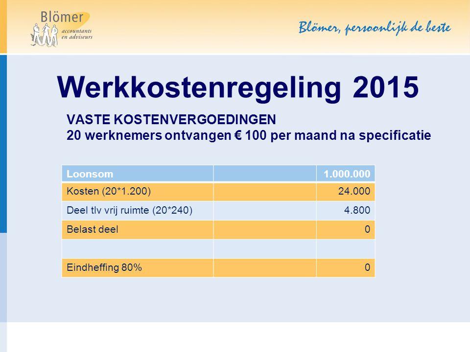 Werkkostenregeling 2015 VASTE KOSTENVERGOEDINGEN 20 werknemers ontvangen € 100 per maand na specificatie.