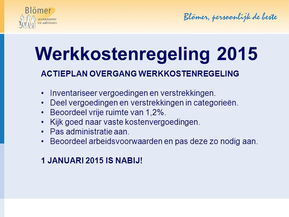 Werkkostenregeling 2015 ACTIEPLAN OVERGANG WERKKOSTENREGELING