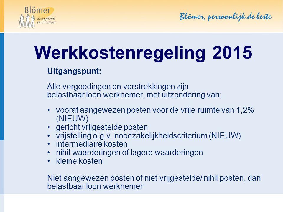 Werkkostenregeling 2015 Uitgangspunt: