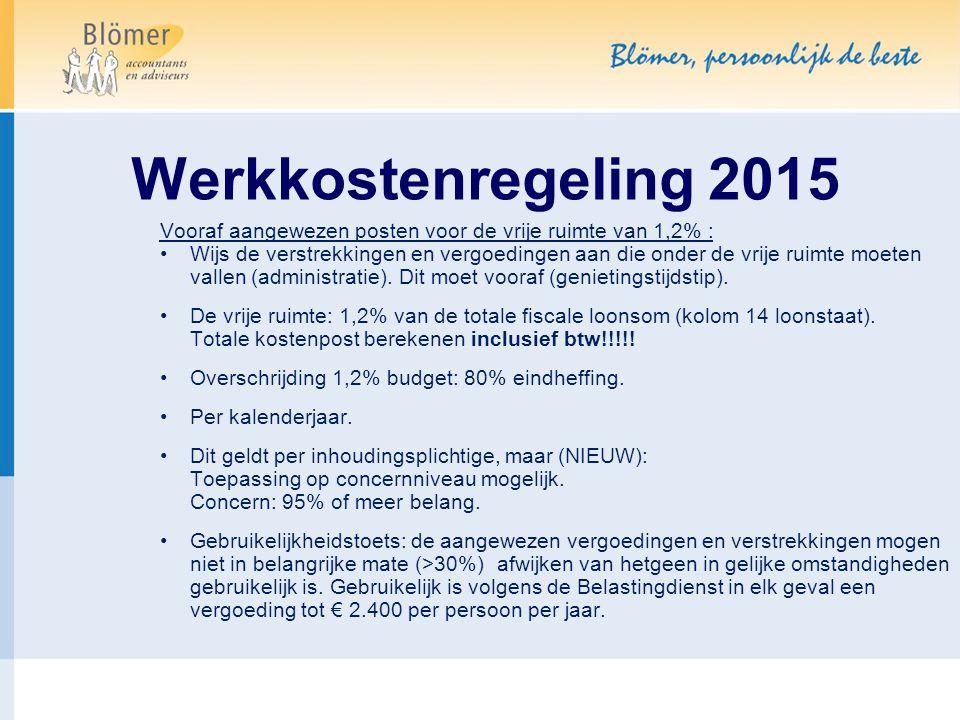 Werkkostenregeling 2015 Vooraf aangewezen posten voor de vrije ruimte van 1,2% :