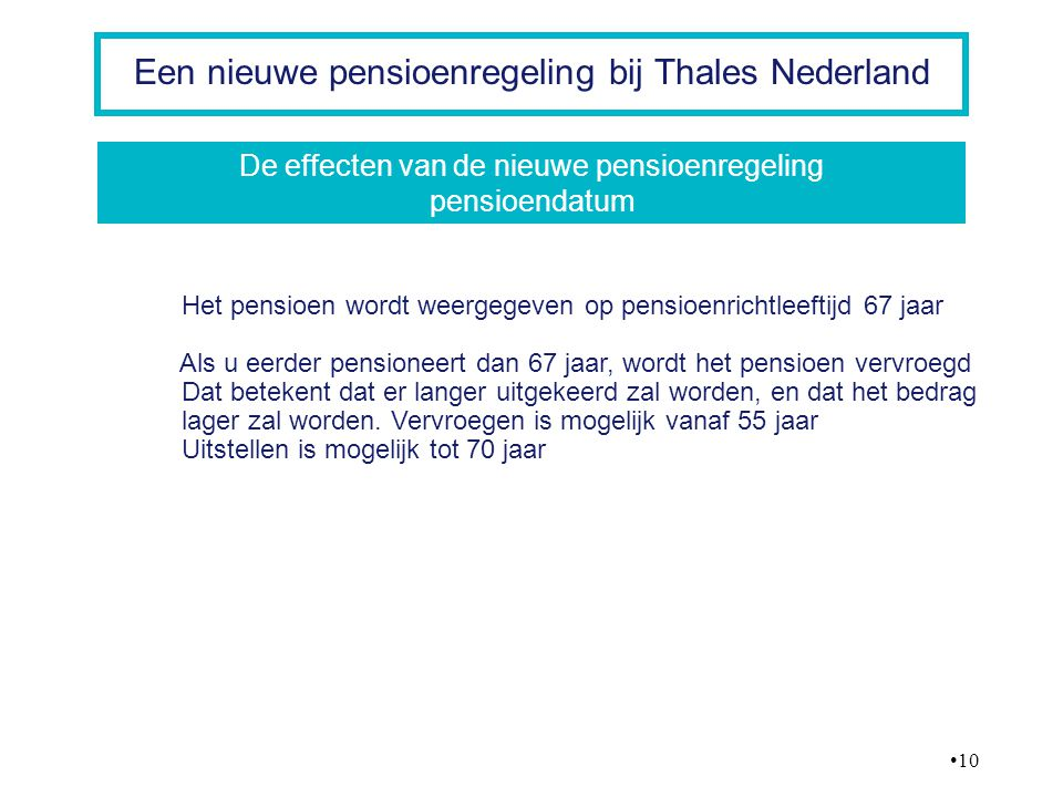 De effecten van de nieuwe pensioenregeling pensioendatum