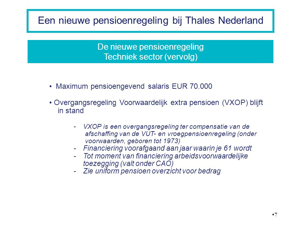 De nieuwe pensioenregeling Techniek sector (vervolg)