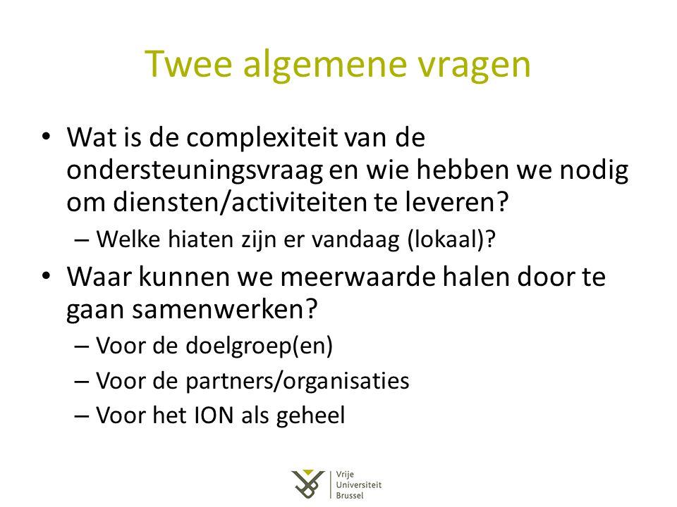 Twee algemene vragen Wat is de complexiteit van de ondersteuningsvraag en wie hebben we nodig om diensten/activiteiten te leveren