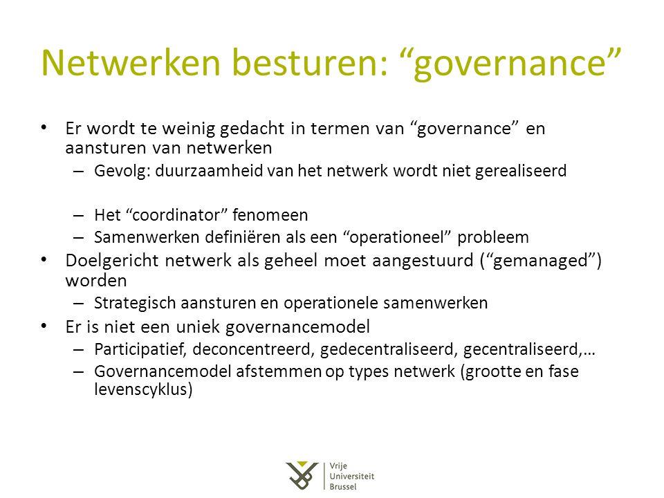 Netwerken besturen: governance