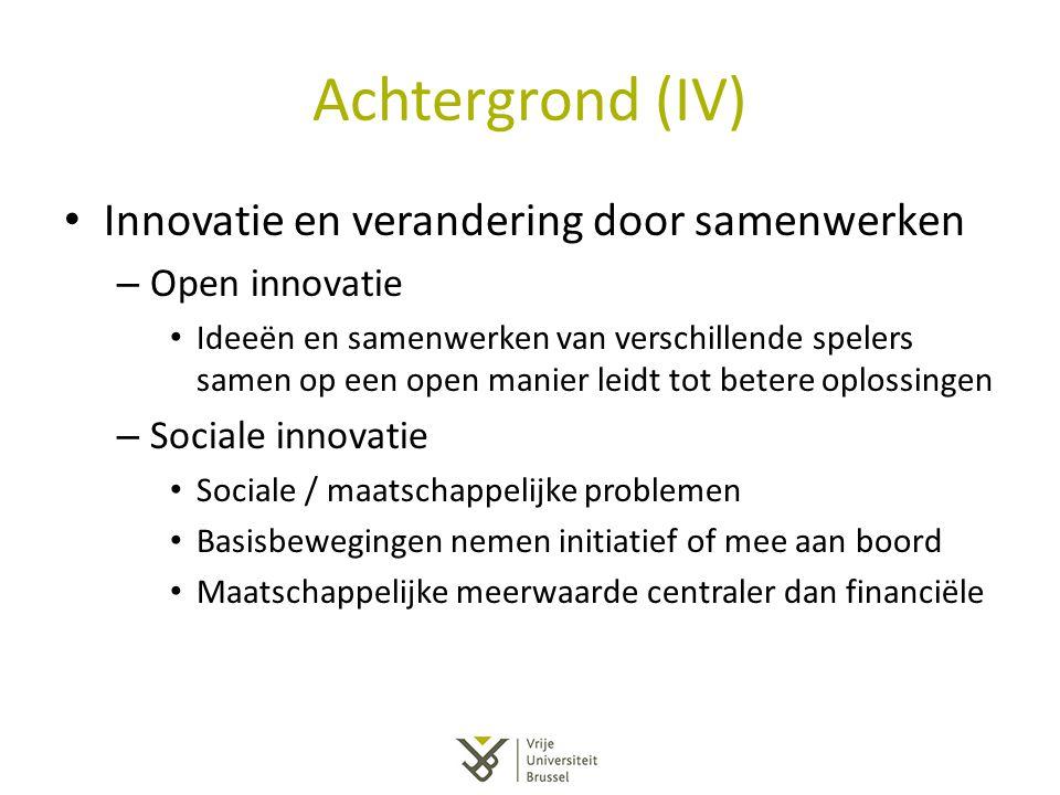 Achtergrond (IV) Innovatie en verandering door samenwerken