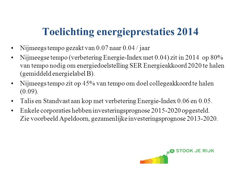 Toelichting energieprestaties 2014