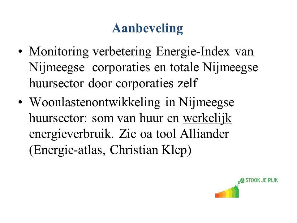 Aanbeveling Monitoring verbetering Energie-Index van Nijmeegse corporaties en totale Nijmeegse huursector door corporaties zelf.